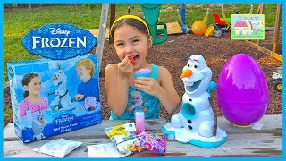 FROZEN OLAF SNOW CONE MAKER + Huge Surprise Egg Opening Disney Junior Sheriff Callie Frozen Videos