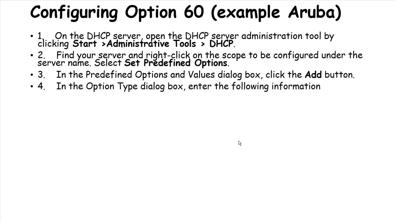 How to configure option 43 and 60