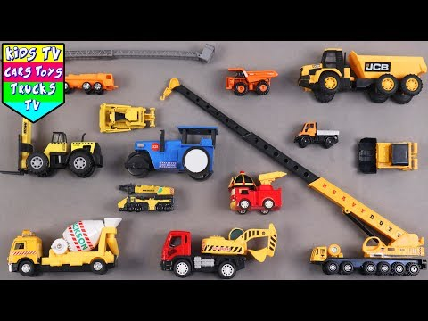 Construction Vehicles For Kids Children Babies Toddlers With Crane Cement Mixer Truck Road Roller