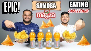 EPIC MAAZA AND SAMOSA EATING CHALLENGE   Mango Juice Challenge   Eating Competition   Food Challenge
