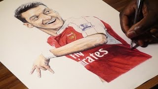 Mesut Ozil Pen Drawing - Arsenal F.C. - DeMoose Art