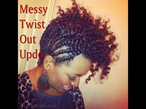 20 Natural Hair  Messy Twist Out Updo  YouTube