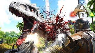 Download Video ARK Dino Evolved - Caçando INDOMINUS REX, Precisamos De AJUDA!   Dinossauros (#19) (PT-BR) MP3 3GP MP4