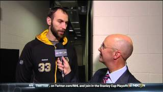 Zdeno Chara pre game interview NBC. 6/3/13 Boston Bruins vs Pittsburgh Penguins NHL Hockey