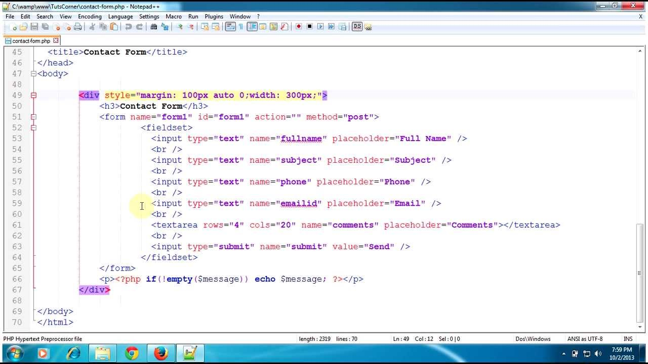 PHP Tutorials: Create a Contact Form using HTML and PHP with a ...