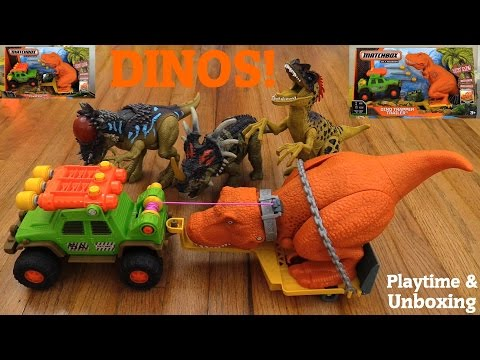 T-Rex Dinosaur Toys: Matchbox Dino Trapper Trailer Unboxing and Fun Crazy Playtime!