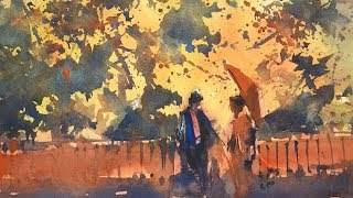 """Advancing with Watercolor: """"Autumn Light, Gion"""""""