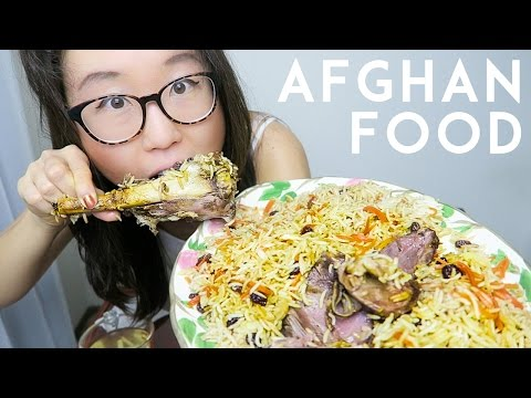 Afghan Food MUKBANG ● Kabuli Pulao and Kanafeh