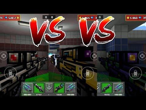 Pixel Gun 3D - Impulse Sniper Rifle VS Electro Blast Rifle VS Eva