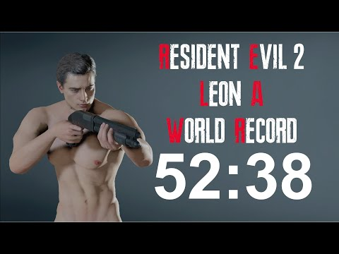 Resident Evil 2 Remake - Leon A Speedrun World Record - 52:3