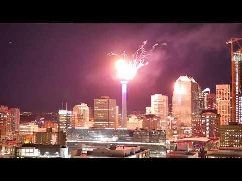 Calgary Tower Fireworks Display - January 1, 2019 - Downtown Calgary - New Years Eve