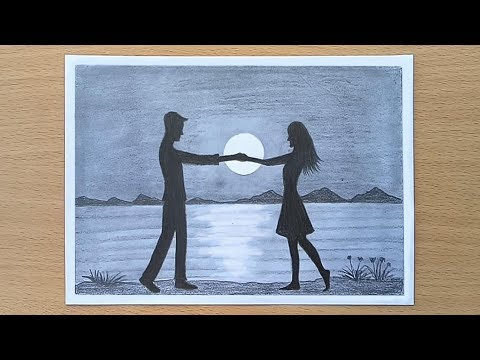 Romantic Couple Night scenery drawing with pencil step by step