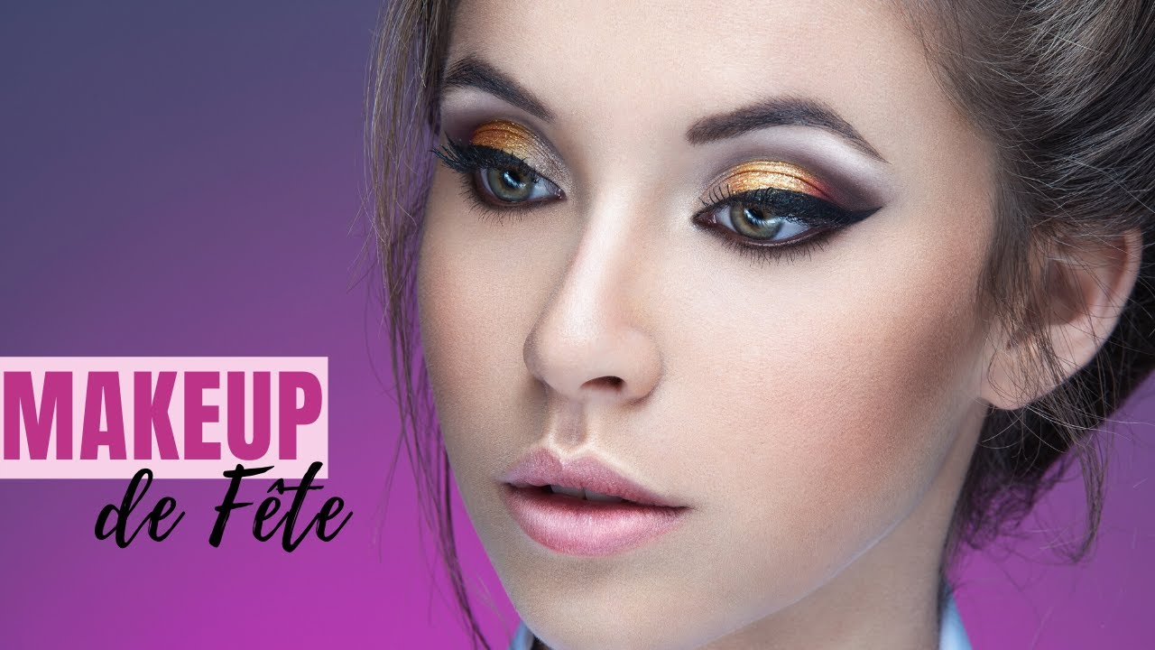 tutoriel maquillage de fte dor marron avec paillettes nol nouvel an youtube - True Colors Maquillage
