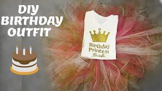 DIY Girl Birthday Outfit / DIY no Sew Tutu / DIY Tshirt design no Cricut