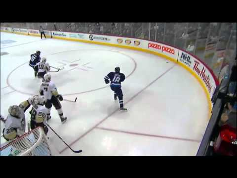 Kris Letang Supermans thru air and bails out Fleury 10/17/11