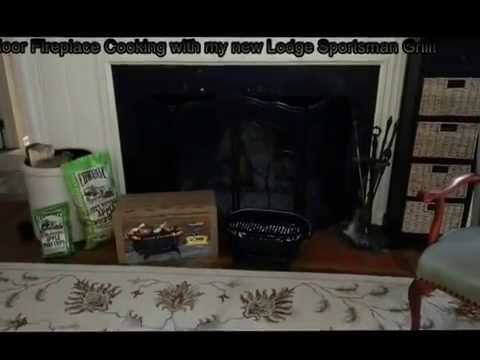 Indoor Fireplace Cooking With My New Lodge Sportsman Grill Youtube