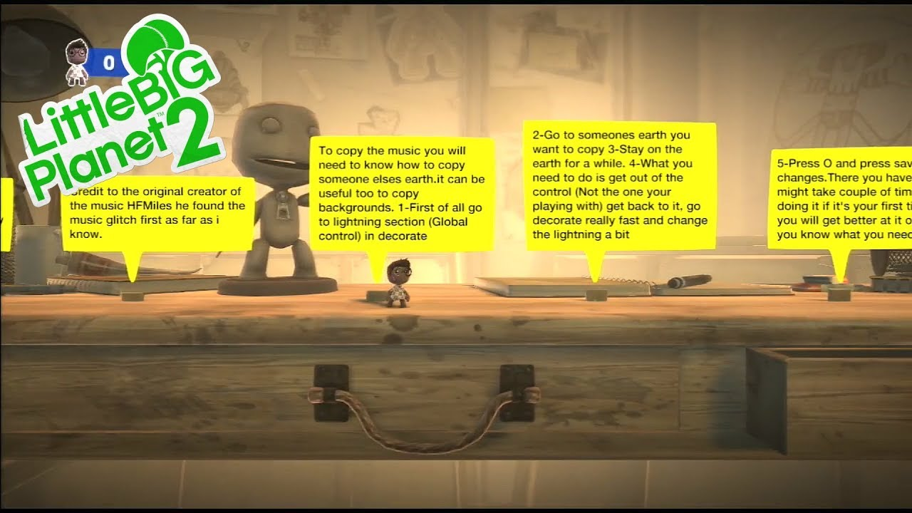 LittleBigPlanet 2 - How To Put Music To Your Earth/Copying Earths Glitch