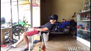 VERY FUNNY! Watch how this drunk man falls asleep!