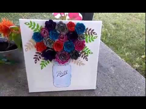 Diy How To Make A Paper Flower Mason Jar Wall Hanging