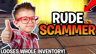 Rude Scammer Loses 20 Legendary Guns! (Scammer Gets Scammed) Fortnite Save The World