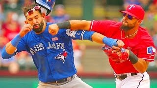 Texas rangers' rougned odor knocked in the face of jose bautista toronto blue jays. i guess didn't realize that don't mess with means e...