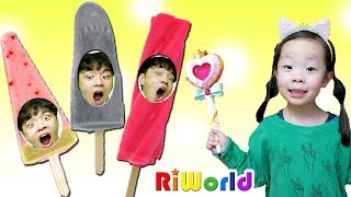 Daddy is in Ice cream. pretend play for kids. RIWORLD 아빠! 왜 아이스크림 속에 있어요?? 사탕이 아이스크림으로 변한다구?