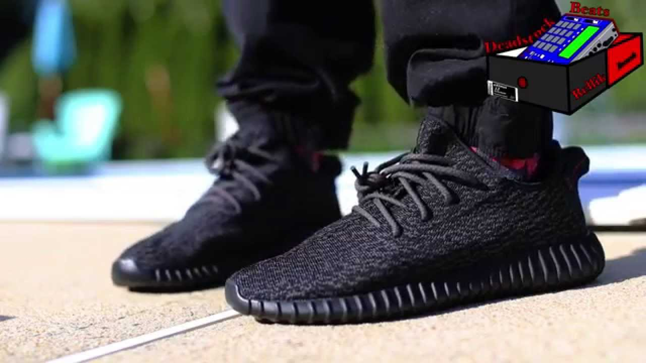 competitive price 44f7e a84c2 Adidas Yeezy Boost 350 Pirate Black On Feet