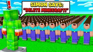 500 FANS vs SIMON SAYS DELETE MINECRAFT!