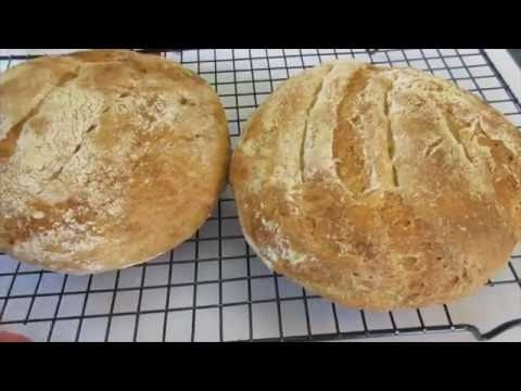 Crusty WHITE BREAD - How to make No Knead Crusty WHITE BREAD Recipe