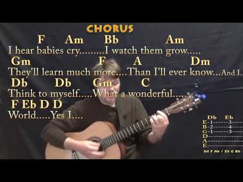 What A Wonderful World (Louis Armstrong) Guitar Cover Lesson in F with Chords/Lyrics - Barre Chords