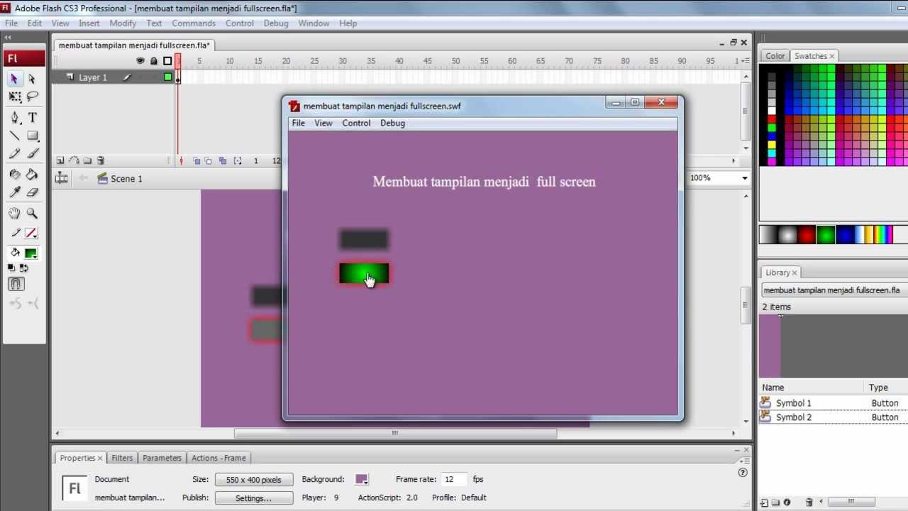 Membuat Tampilan Fullscreen Pada Animasi Flash Swf Latihan Flash