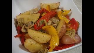 Картошка с грибами и овощами в мультиварке рецепт приготування в описах