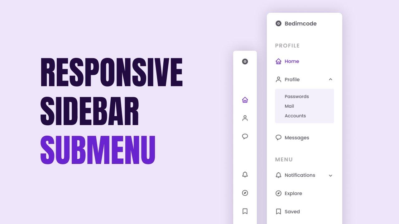 Responsive Sidebar Menu With SubMenu Using HTML CSS And JavaScript