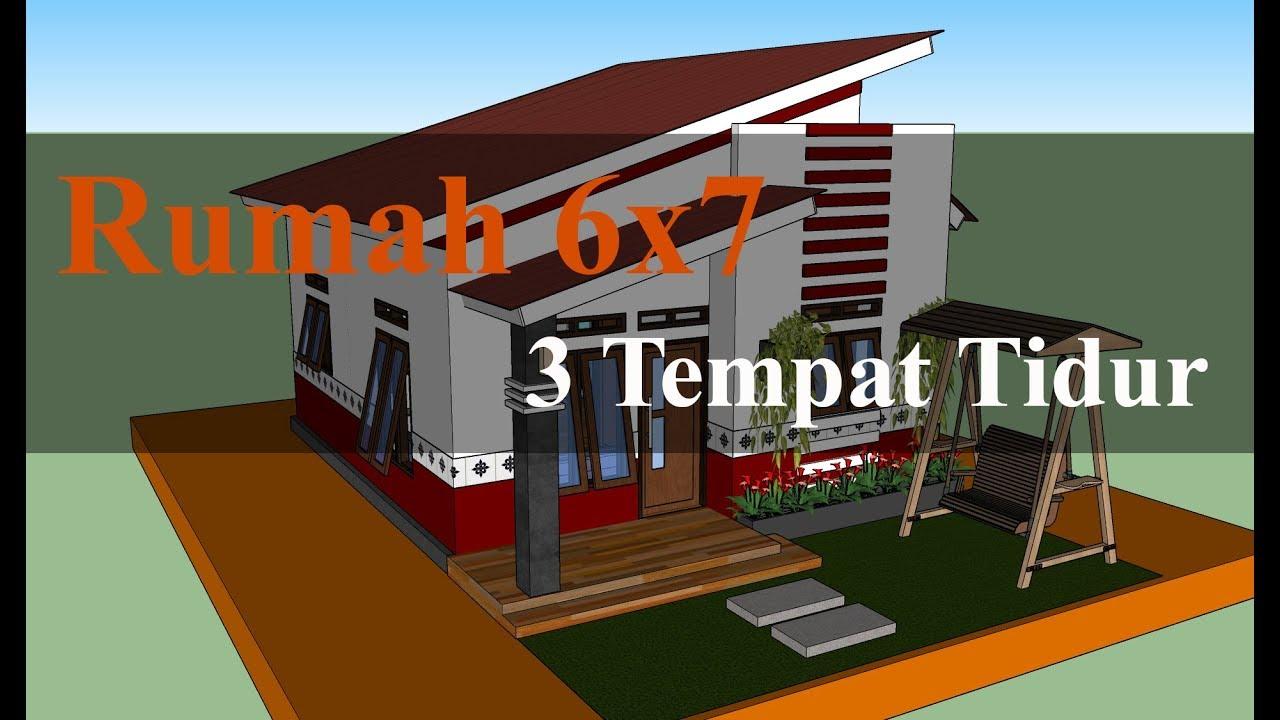 Desain Rumah Sederhana 6x7 Meter Dengan 3 Tempat Tidur