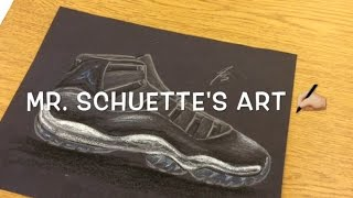 How to DRAW Jordan 11 - Space Jam Jordan XI - free easy art videos for kids | Mr. Schuette