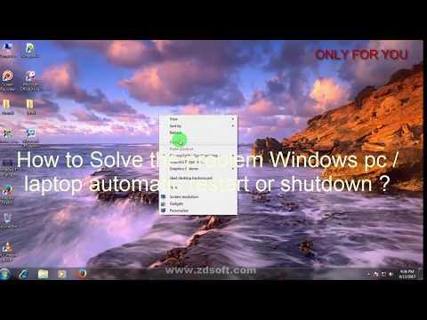 Fix Sudden/auto Restart/shutdown Problem  In Windows 7,8.1,10