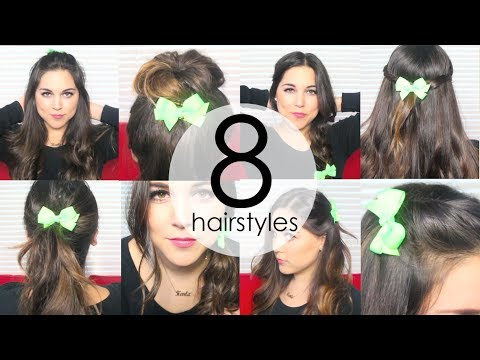 8 Quick & Easy Everyday Hairstyles using HAIR BOWS! - YouTube