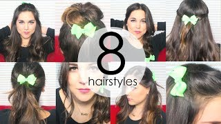 8 Quick & Easy Everyday Hairstyles using HAIR BOWS! Thumbnail