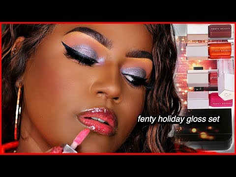Fenty Beauty Holiday Mini Gloss Set! 2019 Dark Skin Swatches thumbnail