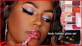 Fenty Beauty Holiday Mini Gloss Set! 2019 Dark Skin Swatches
