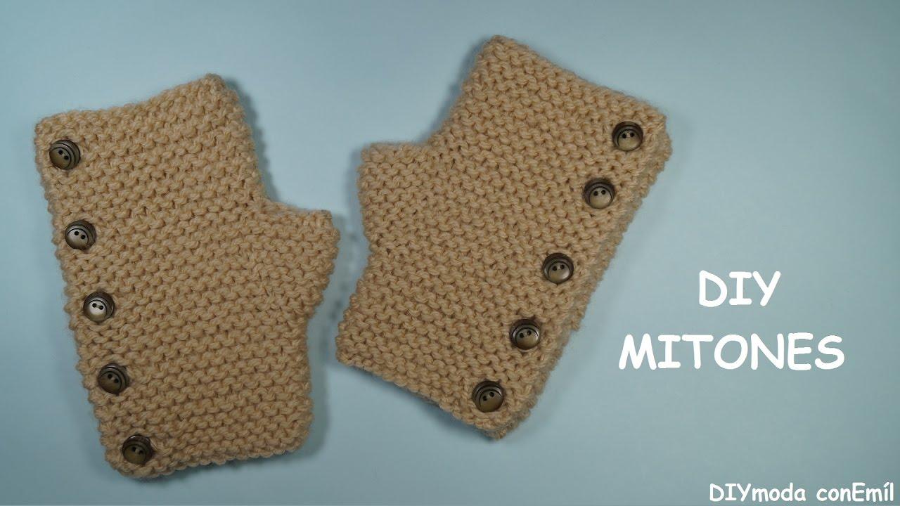 Cómo tejer mitones o guantes sin dedos a dos agujas - YouTube