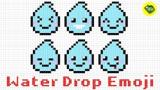 【Pixel Art Easy】How to draw a kawaii Water Drop Emoji