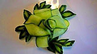 Цветок и лепестки из огурца. Украшения из овощей. Decoration Of Vegetables. Decoration Of Cucumber(My page on Facebook Моя страница на Facebook https://www.facebook.com/carvingfantasis ПОДПИСЫВАЙТЕСЬ В МОЮ ГРУППУ ..., 2014-01-31T16:28:04.000Z)