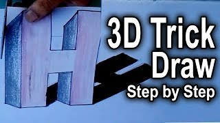 How to easy drawing  3d H letter-very easy 3D floating letter H-3D floating letter H step by step