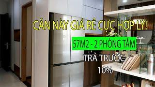 Căn hộ mẫu 2 phòng ngủ, 2 wc, 57m2 Bcons Garden, Phạm Hữu Lầu, Dĩ An, Bình Dương - BĐS Thực Tế