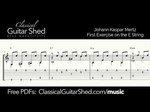 Mertz: Exercise on E - Free sheet music and TABS for classical guitar