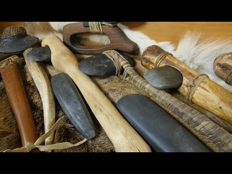 Stone Tools in Action - Shots of Making A Stone Axe Handle