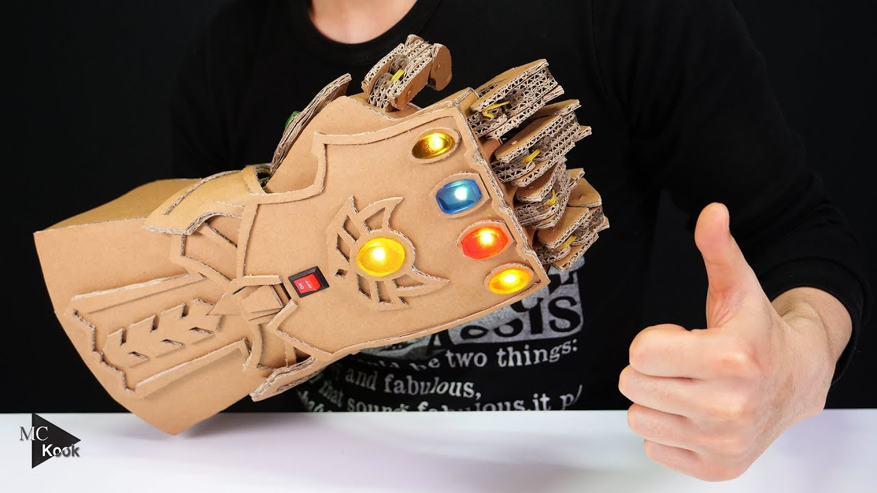 diy thanos infinity gauntlet avengers from cardboard youtube