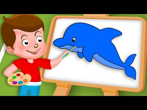Drawing Dolphin Paint And Colouring For Kids   Kids Drawing TV