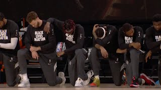 NBA Players, Coaches, Refs Take A Knee During National Anthem On Opening Night